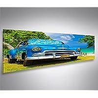 Quadro moderno Blauer Cuba Chevy am Strand Panorama Stampa su tela - Quadro x poltrone salotto cucina mobili ufficio casa - fotografica formato XXL