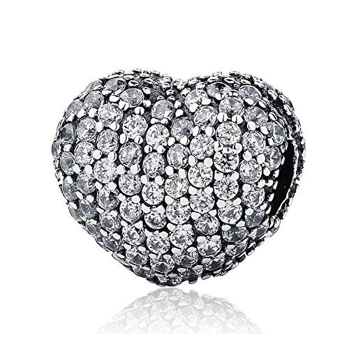 Ciondolo con pavé di zirconi, a forma di cuore da aprire in argento sterling 925, adatto perciondoli pandora e altri tipi di braccialetti
