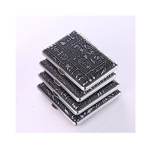 SMXGFNombre del producto: Creative Metal Cigarette CasePeso bruto del producto: 140 gColor: oro, plataEspecificaciones: 14 paquetes, 16 paquetes, 18 paquetes, 20 paquetesMaterial: cuero, metal.Tamaño: Tamaño: 14 paquetes 9.7 * 6.8 * 1.9cm, 16 paquete...