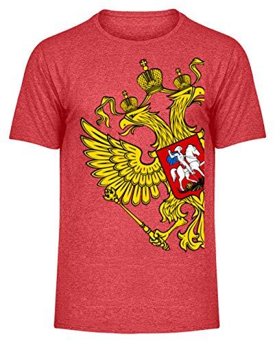 Union Heather T-shirt (Russia Tshirt Russland Flagge goldene Adler Geschenk Poccnr - Herren Melange Shirt -XXL-Heather Rot)