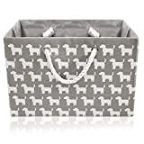 Foldable Grey Canvas Storage Basket Rectangle Fabric Basket with White Dogs - Perfect for Household Storage, Fabrics or Toys. Size: Width 42cms x Depth 32cms x Height 28cms
