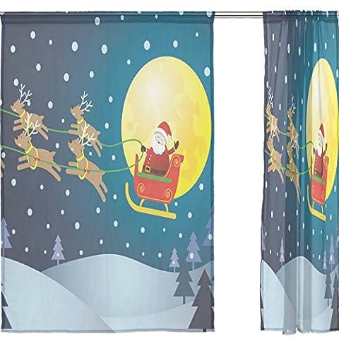 jstel Joyeux Noël Lot de 2voile rideau fenêtre, bleu nuit d'hiver de Noël Père Noël Elk, en tulle Transparent Rideau Drapé Lit 139,7x 198,1cm deux panneaux de, Polyester, bleu, 55x84x2(in)