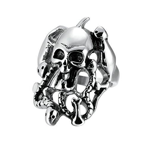 AmDxD Modeschmuck Herrenring Edelstahl Schlange Totenkopf Silber Schwarz 38MM 62 (19.7) (Zwerg-lilie)