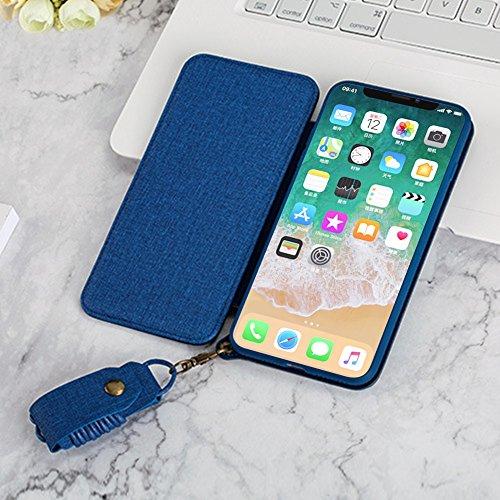 iPhone X Etui, iPhone X Handyhülle, Sunroyal 2 in 1 Flip Schutzhülle Tasche Denim Leder Brieftasche Hülle Case Cover für iPhone X 5,8 Zoll Wallet mit Lanyard Strap Kartenfächer Ständer Funktion Magnet Farbe 01
