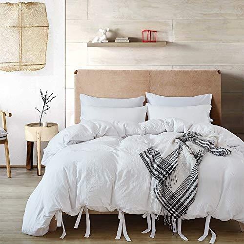 Jiudou Bettwäsche Heimtextilien Einfarbig Bettwäscheset Bettbezug aus Baumwolle zum Schnüre -