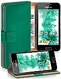 moex Samsung Galaxy S2 | Hülle Dunkel-Grün mit Karten-Fach 360° Book Klapp-Hülle Handytasche Kunst-Leder Handyhülle für Samsu