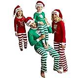 Weihnachten Schlafanzug Familien Outfit Mutter Vater Kind Baby Pajama Langarm Nachtwäsche Print Sleepwear Weihnachten Kostüm Casual Langarm T-Shirt Oberteile Top Hose Set von Innerternet