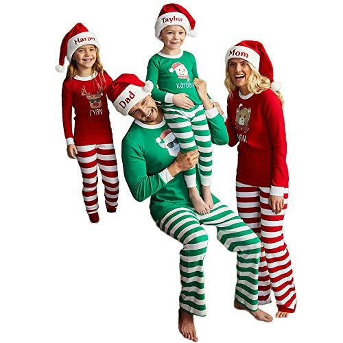 Weihnachten Schlafanzug Familien Outfit Mutter Vater Kind Baby Pajama Langarm Nachtwäsche Print Sleepwear Weihnachten Kostüm Casual Langarm T-Shirt Oberteile Top Hose Set von ()