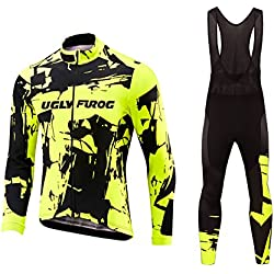 Uglyfrog #06 2017 Nuevo De Invierno Mantener caliente Manga Larga Maillot Ciclismo Hombre Bodies +Long Bib Pant with Gel Pad Winter Style