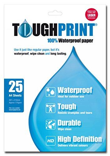 Memory-Map - Toughprint, Carta impermeabile per stampante a laser, confezione da 25 fogli A4