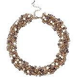 Qiyun ilber Runde Perle Perlen-String Torsade Mehreren Schichten Twist Bib Halskette Halskett Halskette