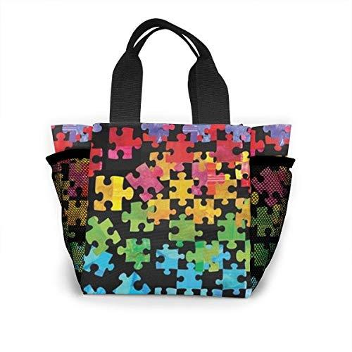 N/A Autismus Awareness Lunch-Tasche, isoliert, wiederverwendbar, Picknick-Boxen für Männer, Frauen, Erwachsene, Kinder, Kleinkinder, Krankenschwestern