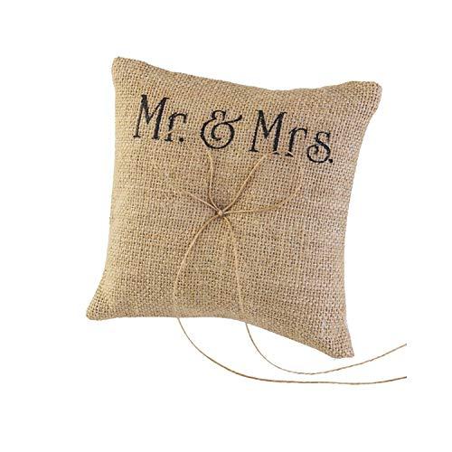 20 x 20 cm Sackleinen Rustikal Hochzeit Ringkissen Kissen Ring Träger Spitze Blume für Hochzeit Zeremonie Hochzeit Zubehör Einheitsgröße A4