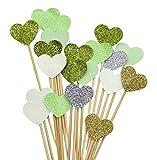 PuTwo handgefertigt 20Zählt 6Farben Pfirsich Herz Kuchen Topper Hochzeit Deko Party Supplies Cupcake Toppers- grün Herz