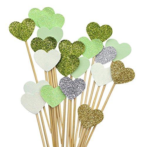putwo handgefertigt 20Zählt 6Farben Pfirsich Herz Kuchen Topper Hochzeit Deko Party Supplies Cupcake toppers- grün Herz (Herz-hochzeits-kuchen-deckel)