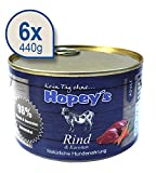 Hopey's Nassfutter Rindfleisch für Hunde, Hundefutter mit hohem Fleischanteil 6 x 440g Dosen