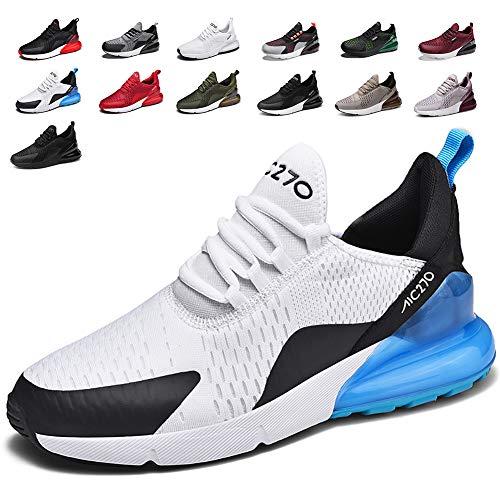 smarten Sportschuhe Herren Damen Laufschuhe Luftkissen Schuhe Turnschuhe Fitness Gym Leichtes Bequem Sommer Trekking Sneakers WhiteBlue 39 EU -
