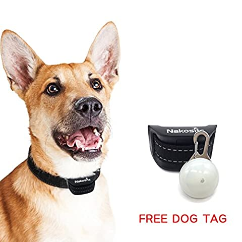 Nakosite PET2433 Best Anti Bark Dog Collar, Stop dogs barking Collar. Uses audible Sound and Vibration. NO SHOCK. Advanced Chip with 7 Sensitivity Adjustable Levels. Flexible and Adjustable Nylon Neck Strap for Small Medium and Large Dogs. Colour is black. BONUS: FREE LED DOG TAG
