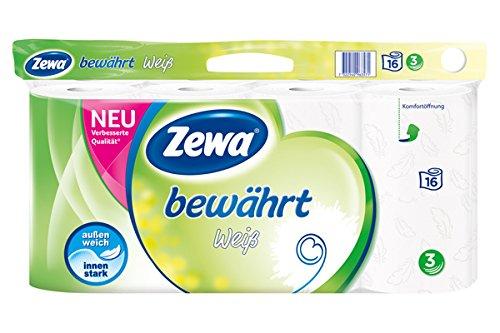 Zewa Toilettenpapier trocken bewährt, weiß, 3-lagig, 16 Stück