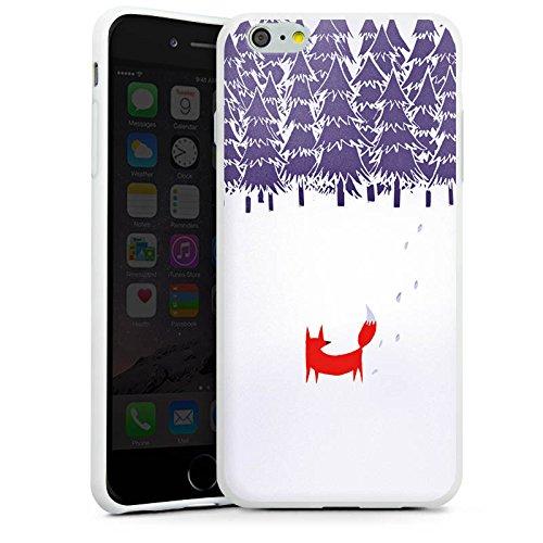 Apple iPhone X Silikon Hülle Case Schutzhülle Wald Fuchs Kunst Silikon Case weiß