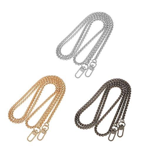 Sharplace Rucksack Riemen Metall Schulterriemen Glänzende Metallkette fuer Damen Handtasche /Umhängetasche / Tasche Geldbörse Silber
