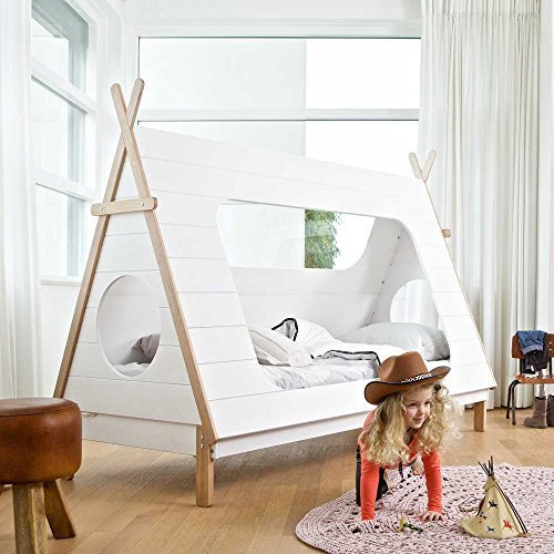 Pharao24 Tipi Kinderbett aus Kiefer Massivholz Weiß 9