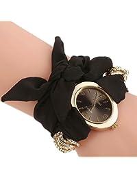 Black : ALCYONEUS Casual Sweet Bow Cloth Strap Round Dial Quartz Bracelet Wrist Watch For Woman