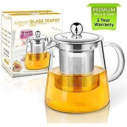 Tetera, 400 ml Tetera de cristal con infusor, microondas y hornillo, seguro