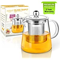 Teapot, 400ml glass Tea pot with Infuser by AckMond, Microwavable and Stovetop Safe, Tea Strainer for Loose Leaf Tea and Blooming Tea, Perfect for one, little teapot