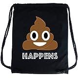 PREMYO Sacca zaino di cotone nera con stampa Emoji Poop Cacca divertente. Zainetto con corde e disegno Emoticon Sacca da palestra di qualità con chiusura a cordoni Sacca sportiva morbida Borsa Gym Bag
