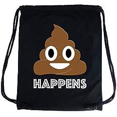 Idea Regalo - PREMYO Sacca zaino di cotone nera con stampa Emoji Poop Cacca divertente. Zainetto con corde e disegno Emoticon Sacca da palestra di qualità con chiusura a cordoni Sacca sportiva morbida Borsa Gym Bag