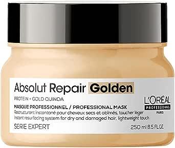 L'Oréal Professionnel | Masque Restructurant Instantané Léger pour Cheveux Secs et Abîmés, Absolut Repair Golden, SERIE EXPERT, 250 ml