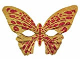 Mardi Gras Party Masquerade Mask,Halloween makeup dance props gold powder butterfly mask children adult butterfly mask red Prom Masks