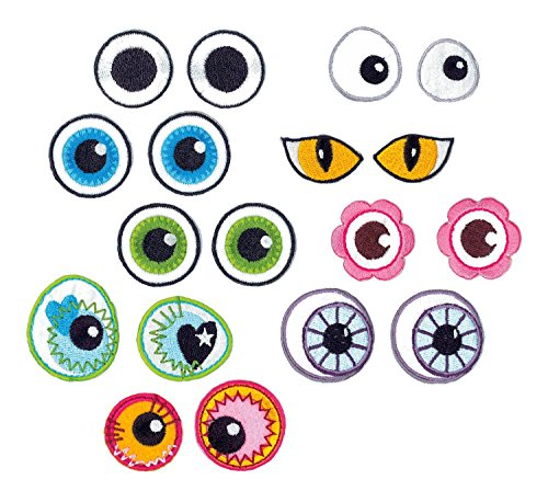 VBS Bügelapplikation Augen, 9er-Set
