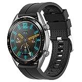 Supore armband kompatibel med Huawei Watch GT2 46 mm/Watch GT 46 mm/Watch GT Active/Watch 2 Pro/Honor Watch Magic/Galaxy Watch 46 mm/Gear S3/Gear 2, 22 mm silikon reservarmband svart