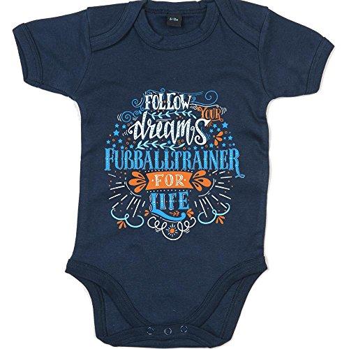 Shirt Happenz Flowerpower Fußballtrainer #1 Babybody | Berufe | Follow Your Dreams | Traumberuf | Jungen | Kurzarmbody, Farbe:Blau (Nautical Navy BZ10);Größe:6-12 Monate (Spieltag Shirt)