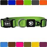 DDOXX Hundehalsband Nylon | für große & Kleine Hunde | Katzenhalsband | Halsband | Halsbänder | Hundehalsbänder | Hund Katze Katzen Welpe Welpen | klein breit Leuchtend bunt | Grün, M