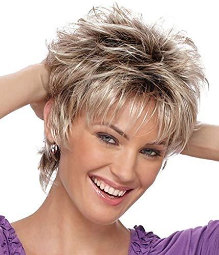 Waselia - Perücke Brasilianisches Weniger Rose Haarnetz Volle Perücke blond Natürlich aussehende Frauen Perücken, Perücken damen Kurze lockige Haare Frisur Echthaarperücken für schöne und großzügig