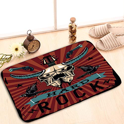 Patterns Camping Holiday Rectangle Non-Slip Rubber Mat Multicolor 23.6 by 15.7 Inch Hard Rock Poster Bull Skull Grunge Style Vintage Vintage Hard Rubber