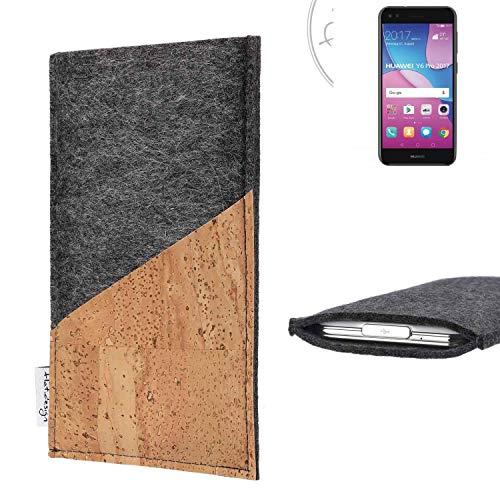 flat.design Handy Hülle Evora für Huawei Y6 Pro 2017 Dual SIM handgefertigte Handytasche Kork Filz Tasche Case fair dunkelgrau