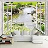 Pmhhc Benutzerdefinierte Wandbild Tapete Moderne Einfache 3D Fenster Garten Kleine Fluss Blume Gras Fresko Wohnzimmer Schlafzimmer Foto Tapeten-200X140Cm