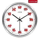 Reloj de pared,simple,de madera maciza,sala de estar,grande,12 Zodiac Creative Living Room Big Clock Dormitorio silencioso moderno Reloj de cuarzo simple Decoración para el hogar Reloj de pared,30 cm