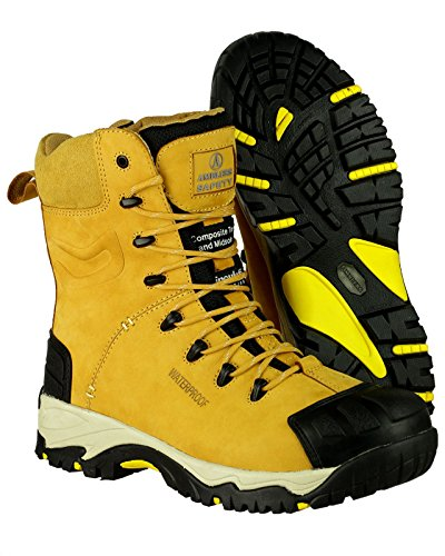 Amblers Safety Uomo FS998 Scarponi Antinfortunistici Lacci Impermeabili In Pelle Giallo