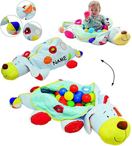 Unbekannt XL Set _ Kuschel & Spiel & Motorikspielzeug -  Bällepool - Hund + 60 Stück Bälle  - incl. Name - für Baby´s & Kinder - Plüsch Tier mit Spieleffekten - Bälle..