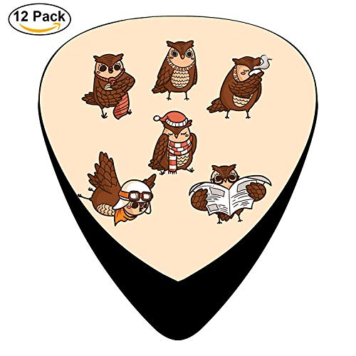 Owl Collection Celluloid Electric Guitar Picks 12-pack Plectrums For Bass Music Tool Womens Premiere Collection
