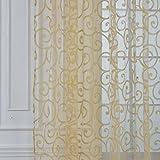 exiu–Cortina de visillos fêntre puerta vela diseño de flores decoración de casa, gasa, amarillo, 100*200CM