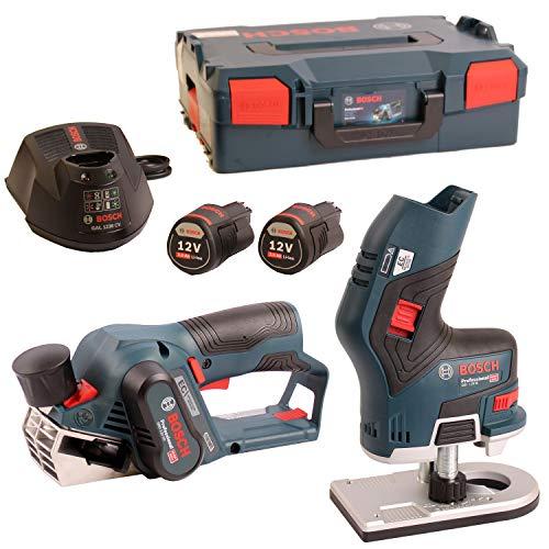 Bosch Akku-Hobel GHO 12V-20 + Bosch Akku-Kantenfräse GKF 12V-8 im Set in L-Boxx