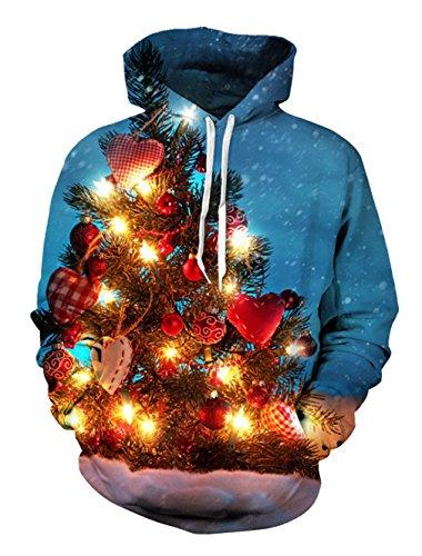 BFUSTYLE Unisex 3D gedruckte Kapuze Weihnachtsparty Grafik Pullover Kapuzenpullover Kordel Jacke Pullover (Anzug Realistische Tragen)