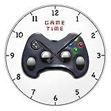Monsety Lustige Wanduhren Dekorativ für Wohnzimmer Video Gamer Geschenke Kinderzimmer Rund Holz Uhr für Küche Dekor 30 cm
