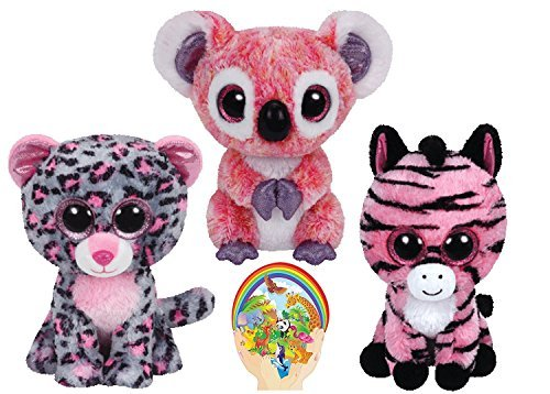 Tall Leopard (Ty Beanie Boos Leopard TASHA, Koala KACEY, and Zebra ZOEY Gift set of 3 Pink Plush Toys 6-8 inches tall by Ty Beanie Babies)